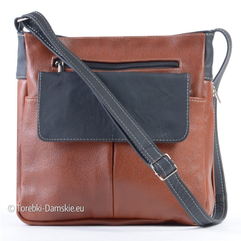 Skórzana prostokątna torebka brązowo-czarna