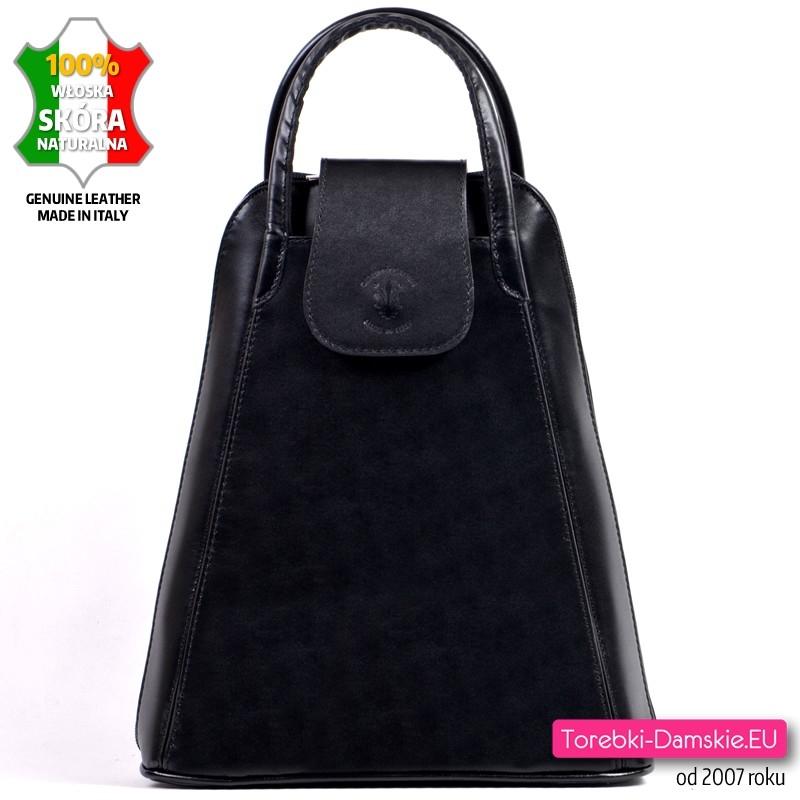 acd73b04a7cc5 Czarny mały plecak ze skóry naturalnej, włoski