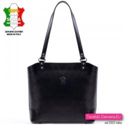 Skórzana czarna włoska torebka na ramię