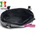 Czarna torebka Rosella na ramię, średnia wielkość, skórzana