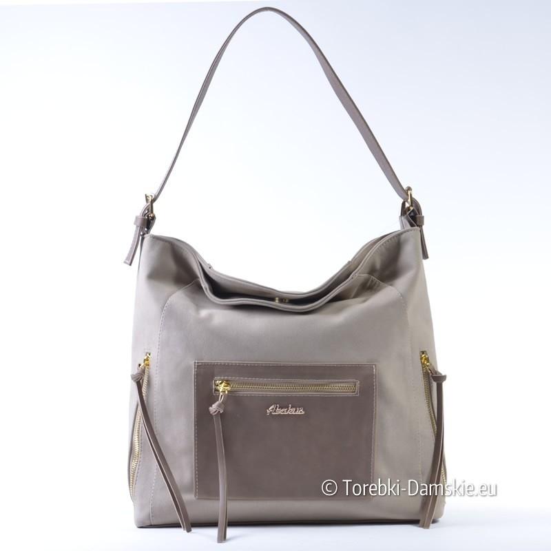 Beżowy duży worek - torebka na ramię z prostokątną kieszenią z przodu
