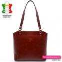Brązowa skórzana włoska torebka - model Rosella