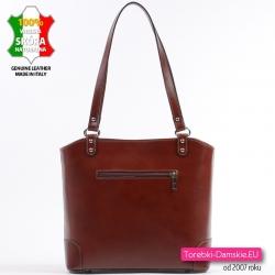 Skórzana torebka damska z kieszenią z tyłu, kolor brązowy