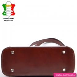 Usztywniona elegancka włoska brązowa torebka ze stopkami do stawiania