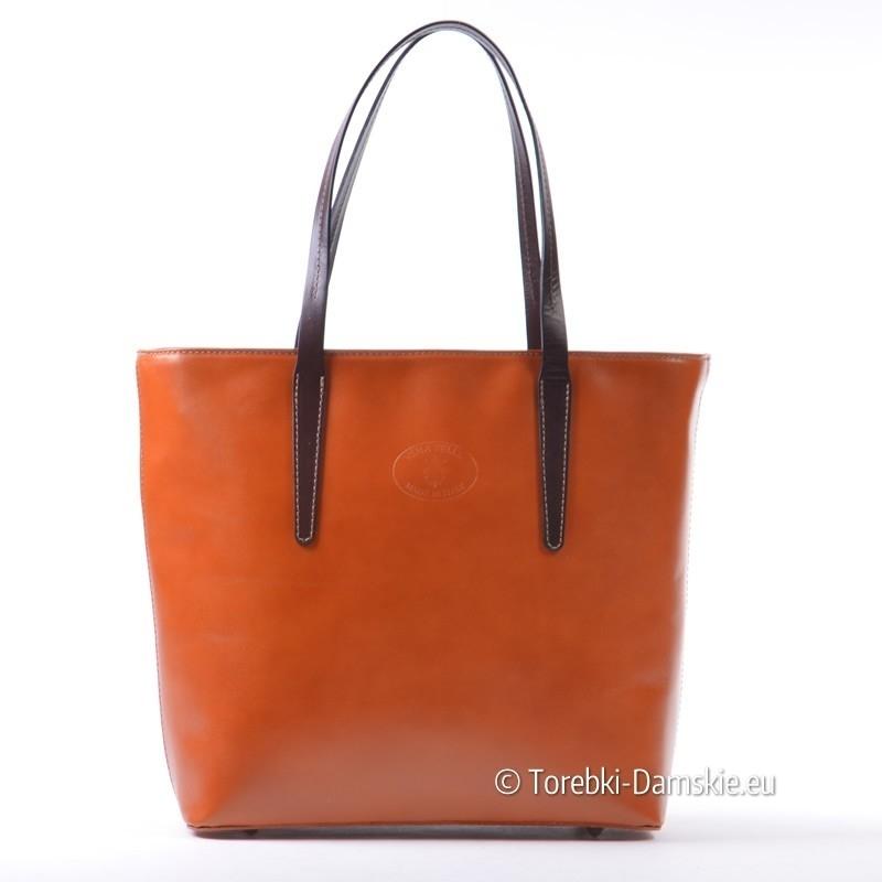 04509a62a57f4 Skórzana duża torba teczka damska kolor rudy z brązem