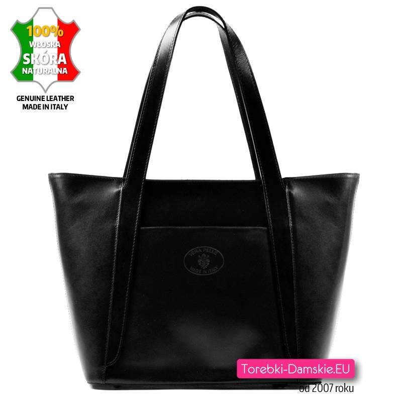 Czarna duża torba skórzana - model Bettina