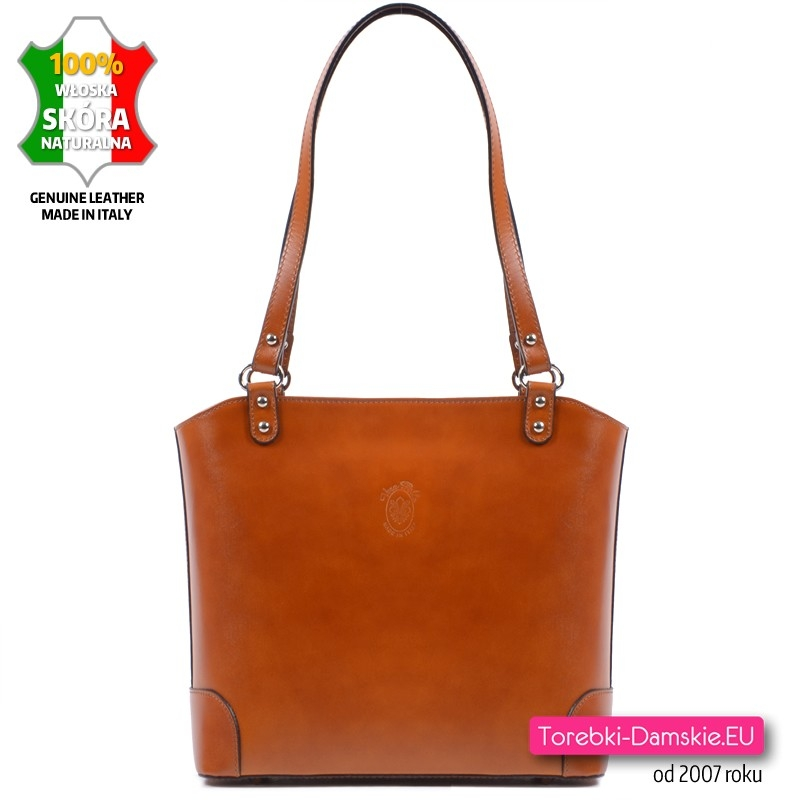 Włoska jasnobrązowa karmelowa torebka średniej wielkości ze skóry