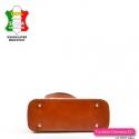 Ekskluzywna włoska jasnobrązowa torebka ze stopkami do stawiania, kolor jasny brąz