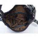Szara średniej wielkości torebka skórzana z dwoma suwakami z przodu