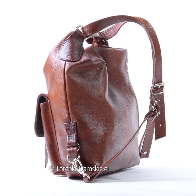 18302fd7c1740 ... Damski plecak z brązowej skóry ...