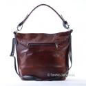 Skórzana torba z ozdobnymi przeszyciami z przodu, kolor brąz cieniowany