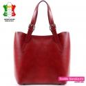 Duża damska torba na ramię A4 w kolorze czerwonym ze skóry