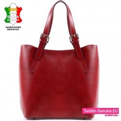 Duża czerwona torba włoska ze skóry na ramię