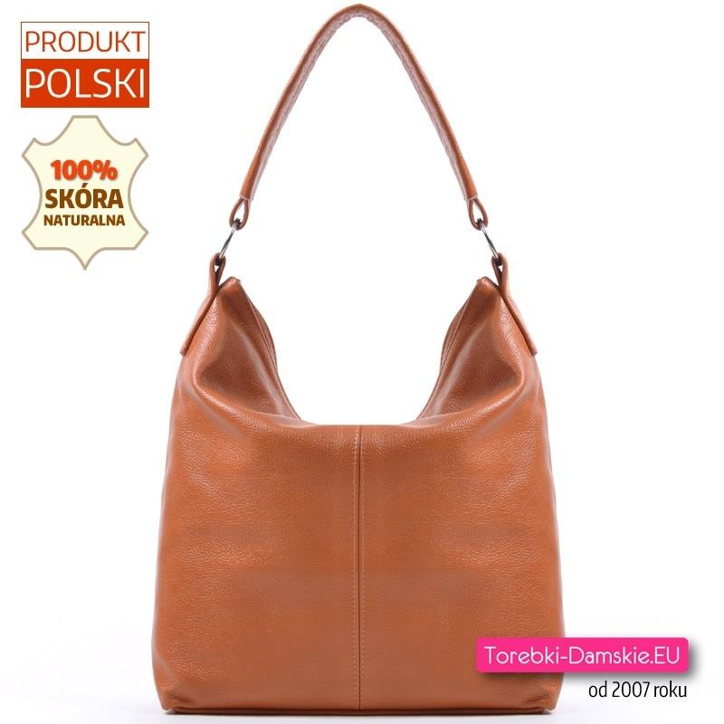 Jasnobrązowa pojemna torebka na ramię ze skóry naturalnej - modny worek