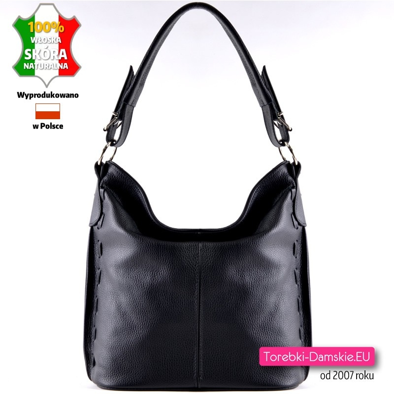 Praktyczna i stylowa czarna skórzana torebka damska