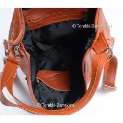 Wnętrze plecako - torby skórzanej wykończone podszewką