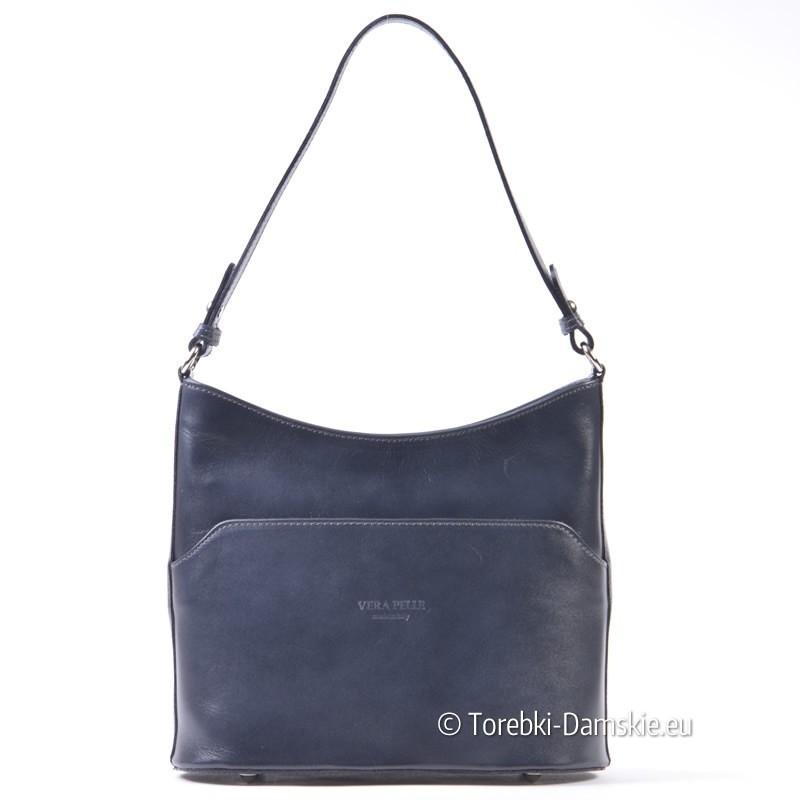 Szara elegancka skórzana torebka średniej wielkości na ramię