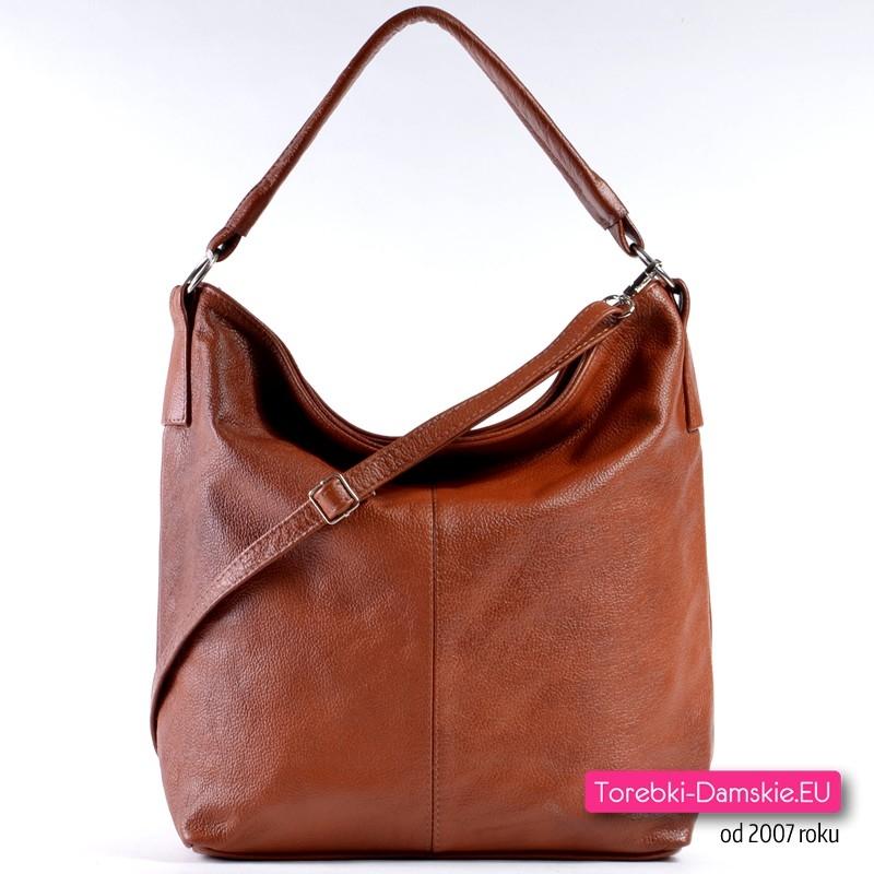 fa54f44ac3b99 Tania torba damska na ramię kolor ciemny brąz cieniowany ze skóry ...