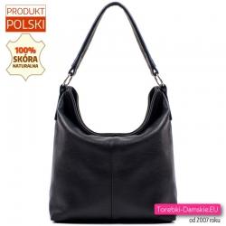 Czarna pojemna polska torba ze skóry