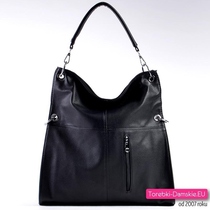 7e8cc75741be Duża tania czarna torba damska na ramię