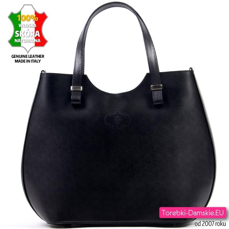 Duża torba damska z czarnej licowej skóry naturalnej