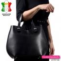 Duża czarna skórzana włoska torba - sztywna, zamykana suwakiem