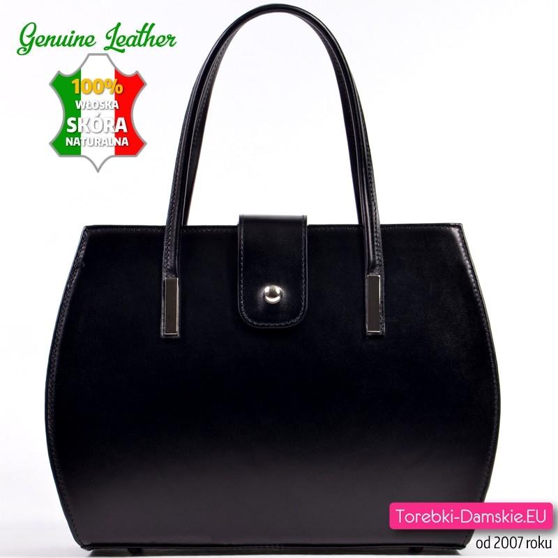 Czarny włoski kuferek - torebka z zaokrąglonymi bokami