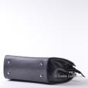 Elegancka torebka skórzana - kuferek czarny ze stopkami