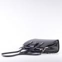 Torebka włoska skórzana czarna - kuferek z długim paskiem dopinanym