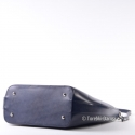 Włoska torba shopper granatowa ze skóry, kształt owalny