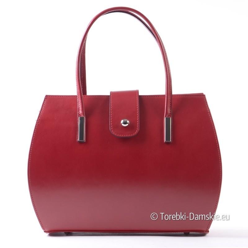 Skórzany czerwony włoski kuferek - nowy model