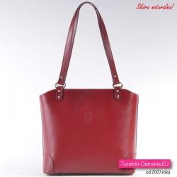 Włoska torebka na ramię albo do przewieszenia z czerwonej skóry