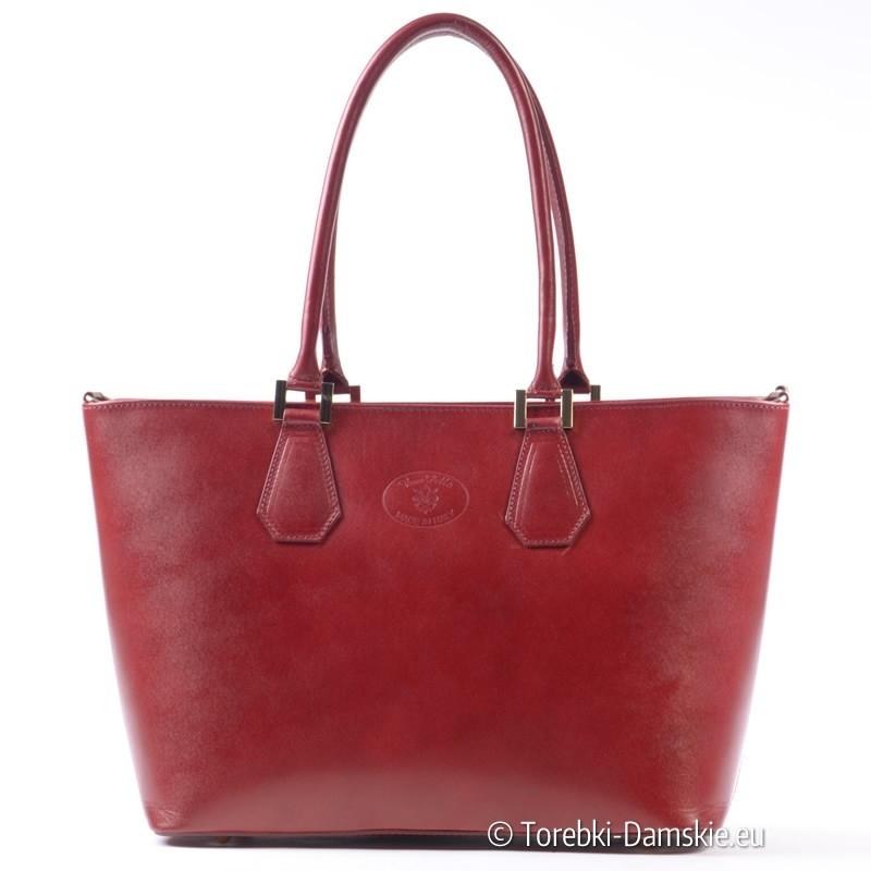 Czerwona duża torba damska na ramię - elegancka teczka