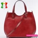 Czerwona duża torba ze sztywnej skóry, modny shopperbag