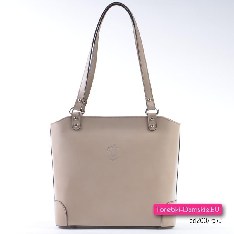 Skórzana beżowa torebka damska - średnia wielkość, na ramię