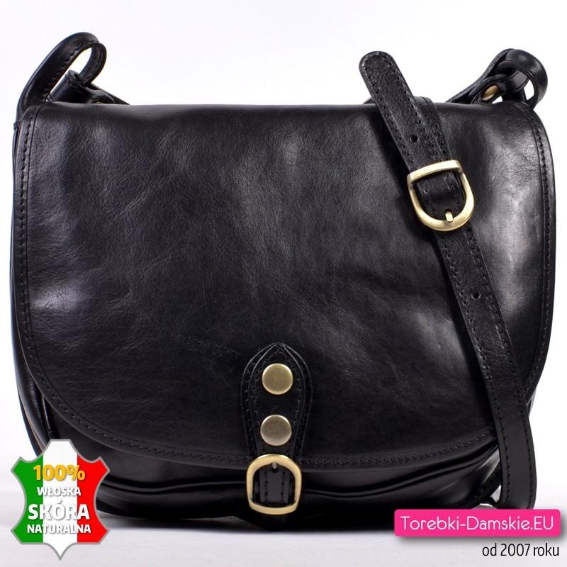 b228dcf65f538 Piękna czarna skórzana torba damska z klapą, długi pasek na ramię