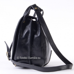 Dwukomorowa pojemna torba do przewieszenia z czarnej skóry