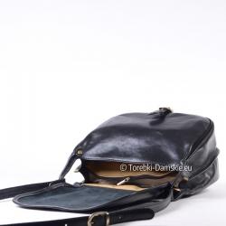 Czarna torebka dwukomorowa z klapą z luksusowej naturalnej skóry cielęcej