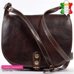 Brązowa skórzana włoska torba damska listonszka z klapa