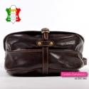 Duża brązowa torba damska z klapą na długim pasku - bardzo efektowny wygląd