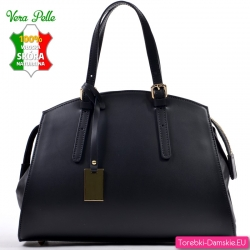 Wyprzedaż - czarny skórzany elegancki kuferek