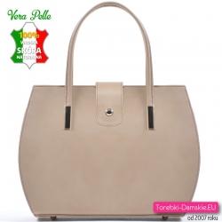 Kuferek ze skóry - beżowa modna torebka damska