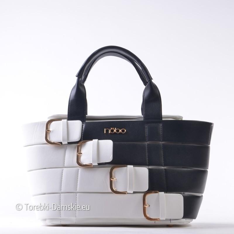 02aed969f9586 Czarno - biała dwukolorowa torebka z klamrami ozdobnymi