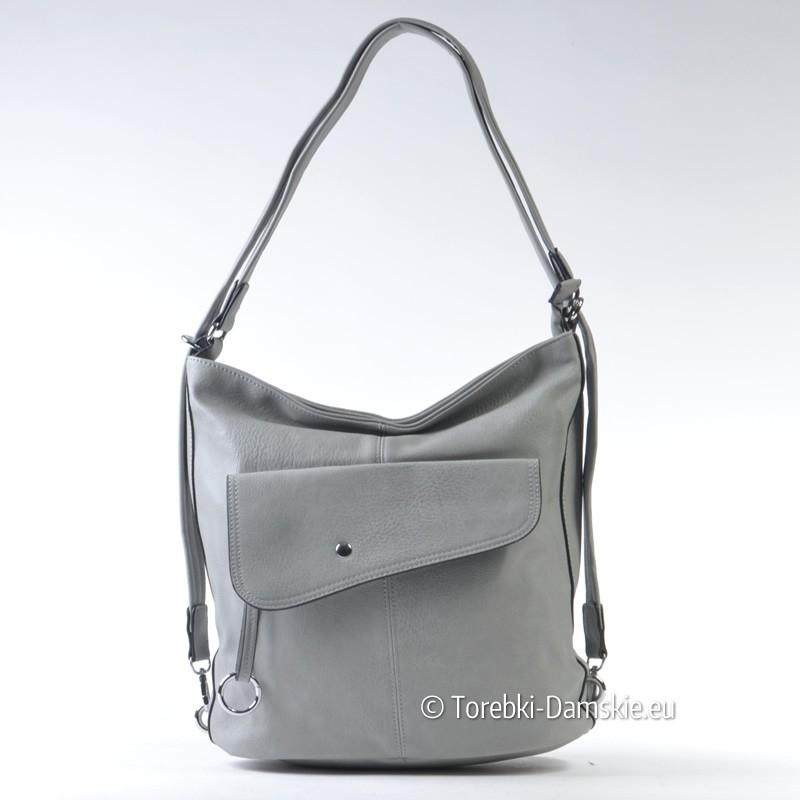 43c8451a16c39 Nowy Torebka i plecak w jednym w kolorze szarym - pojemny worek