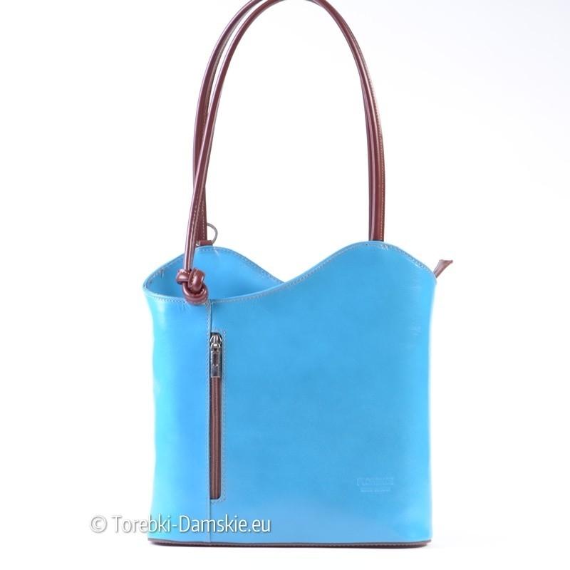 Jasnoniebieska - błękitna torebka i plecak w jednym ze skóry