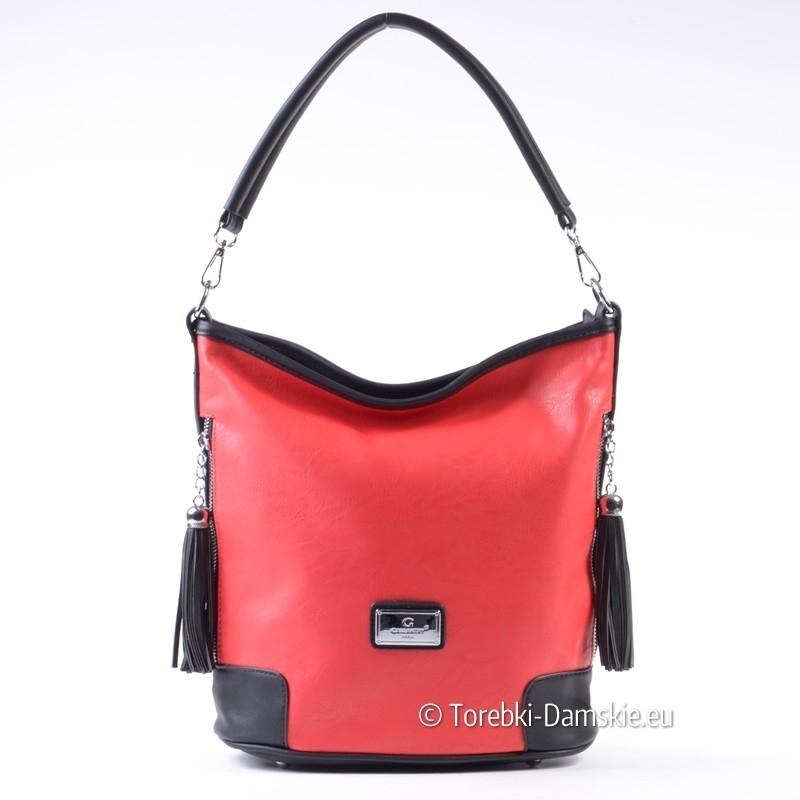 Czerwono - czarna torebka na ramię, do przewieszenia, suwaki i frędzle