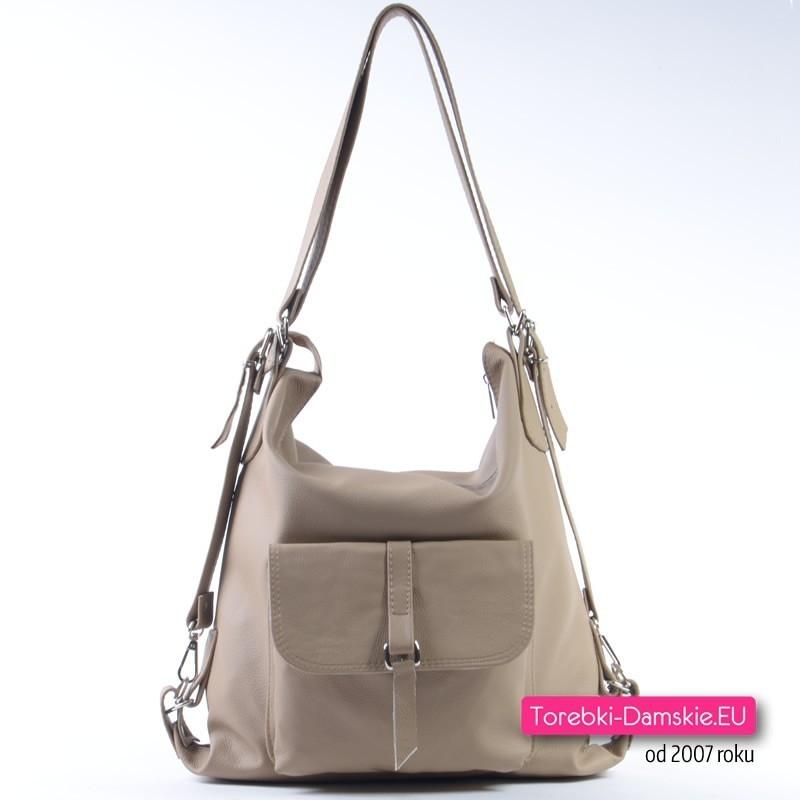 Beżowy plecak, torebka skórzana - Trzy w Jednym