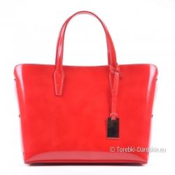 Lakierowana torebka skórzana w kolorze czerwonym