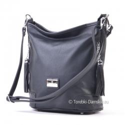 Czarna torebka z dwoma odpinanymi paskami - długim i krótszym