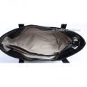 Skórzana torba na ramię czarna, ukośny suwak z przodu